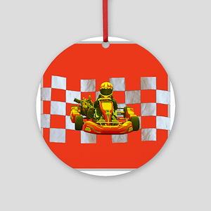 Yellow Kart on Checkered Flag Ornament (Round)