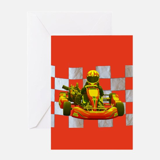 Yellow Kart on Checkered Flag Greeting Cards