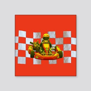 Yellow Kart on Checkered Flag Sticker