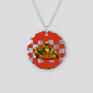 Yellow Kart on Checkered Flag Necklace