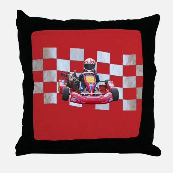 kart and checkered flag with red background Throw