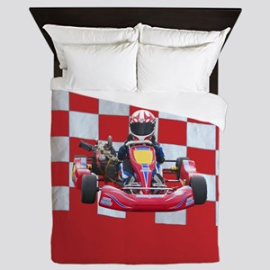 kart and checkered flag with red background Queen
