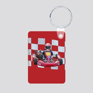 kart and checkered flag with red background Keycha