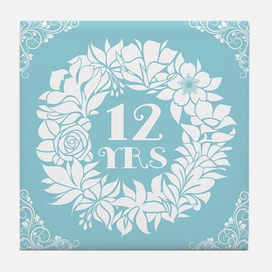 12th Anniversary Wreath Tile Coaster