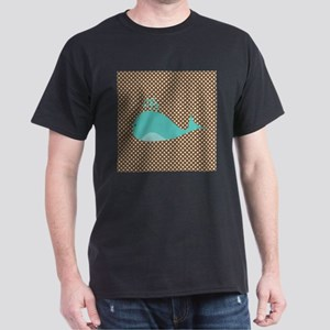 Cute Blue Whale on Brown and White Polka Dot T-Shi