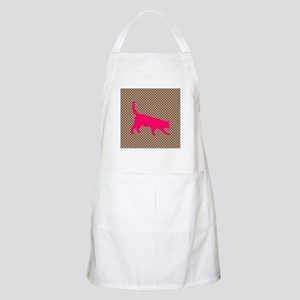 Pink Cat on Brown and White Polka Dots Apron