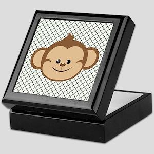 Monkey on Green and White Lattice Keepsake Box