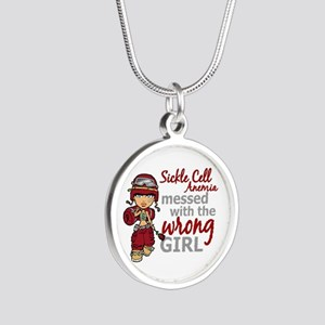 Sickle Cell Anemia CombatGir Silver Round Necklace