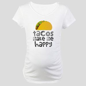 Tacos Make Me Happy Maternity T-Shirt