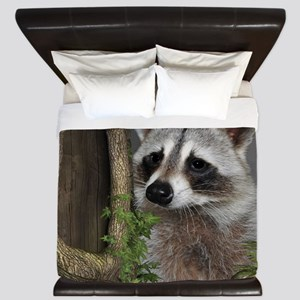 Raccoon Portrait King Duvet