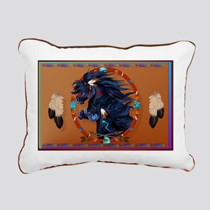 Black Horse Mandala Rectangular Canvas Pillow