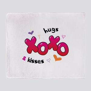 XOXO hugs & kisses Throw Blanket