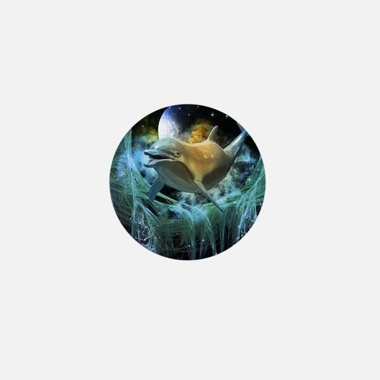 Dolphin in the universe Mini Button