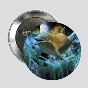"""Dolphin in the universe 2.25"""" Button"""