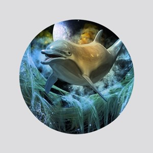 """Dolphin in the universe 3.5"""" Button"""