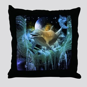 Dolphin in the universe Throw Pillow