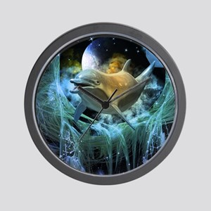 Dolphin in the universe Wall Clock