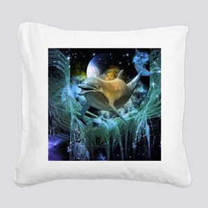Dolphin in the universe Square Canvas Pillow