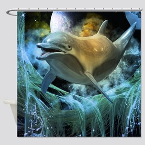 Dolphin in the universe Shower Curtain