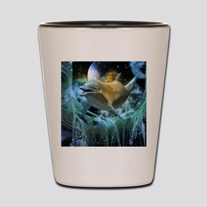 Dolphin in the universe Shot Glass