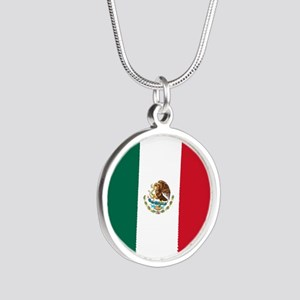 Mexico Flag Silver Round Necklace