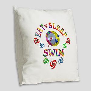 Eat Sleep Swim Burlap Throw Pillow