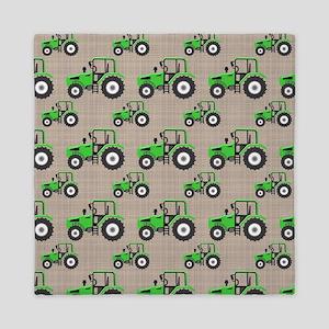 Green Tractor Pattern Queen Duvet