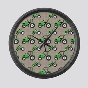 Green Tractor Pattern Large Wall Clock