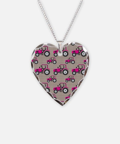 Pink Tractor Pattern Necklace