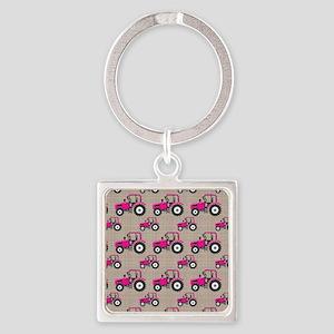 Pink Tractor Pattern Keychains