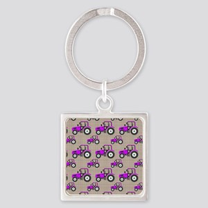 Purple Tractor Pattern Keychains