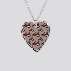 Red Tractor Pattern Necklace