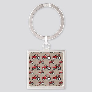 Red Tractor Pattern Keychains