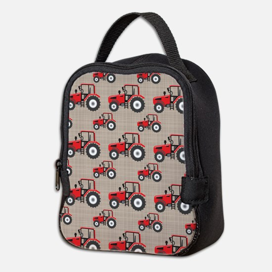 Red Tractor Pattern Neoprene Lunch Bag