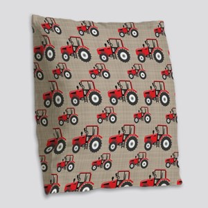 Red Tractor Pattern Burlap Throw Pillow
