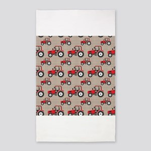 Red Tractor Pattern 3'x5' Area Rug
