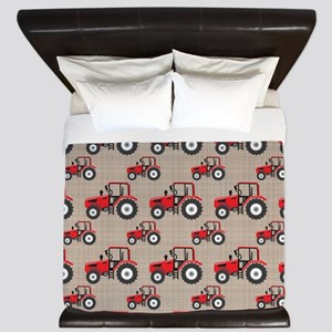 Red Tractor Pattern King Duvet