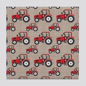 Red Tractor Pattern Tile Coaster