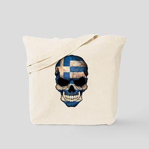 Greek Flag Skull Tote Bag
