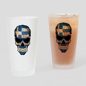 Greek Flag Skull Drinking Glass