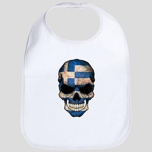 Greek Flag Skull Bib