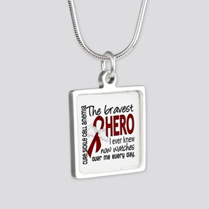 Sickle Cell Anemia Bravest Silver Square Necklace