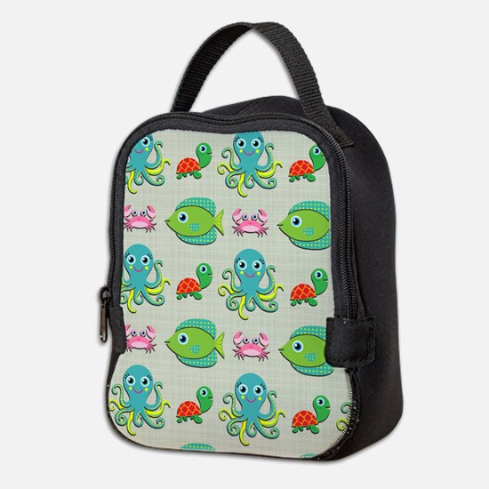 Cute Sea Life on Tan Neoprene Lunch Bag