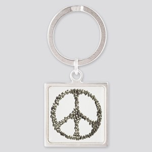 Skulls Peace Sign Square Keychain