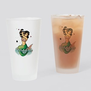 Old School Mermaid Drinking Glass