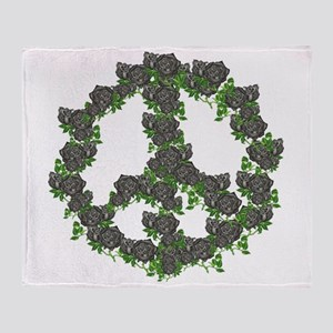 Black Peace Roses Throw Blanket