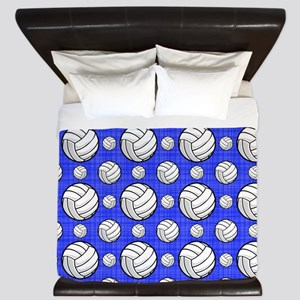 Royal Blue Volleyball Pattern King Duvet