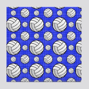 Royal Blue Volleyball Pattern Tile Coaster