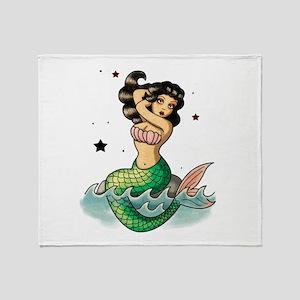 Old School Mermaid Throw Blanket
