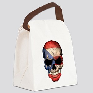 Puerto Rico Flag Skull Canvas Lunch Bag